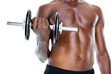 Mid section of fit shirtless man holding dumbbell