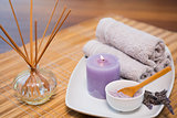 Spa objects on wooden table