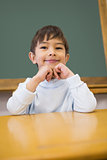 Cute pupil sitting at desk in classroom