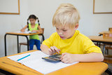 Cute pupils working at desks in classroom