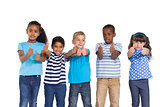 Cute children showing thumbs up at camera