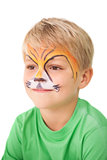 Happy little boy in tiger face paint
