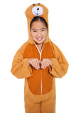 Happy little girl in bear costume
