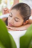 Beautiful brunette enjoying a herbal compress massage