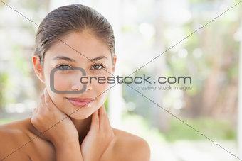 Beautiful brunette smiling at camera
