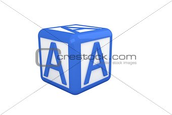 A blue and white block