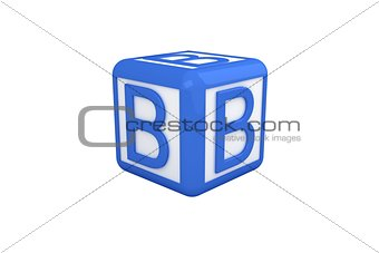 B blue and white block