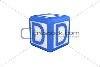 D blue and white block