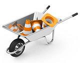 wheelbarrow and cones