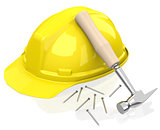 safety helmet and hammer