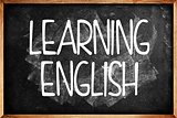 Learning English title on Language School Blackboard
