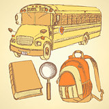 Sketch school bus,zoom,  book and notebook
