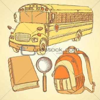 Sketch school bus,zoom,  book and notebook