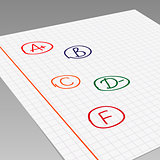 School grades on exercise book. Vector illustration