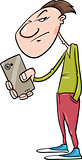 guy shoot with smartphone cartoon