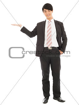asian businessman with welcome and showing gesture