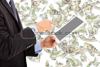 business man touching tablet with money rain