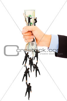 group of business people climbing the us dollar currency