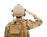 closeup of Soldier in military uniform  saluting