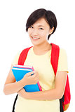 smiling student girl standing over white background