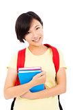 beautiful university student girl standing over white background