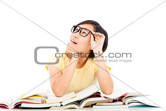 asian young student girl thinking with book