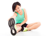 Young woman doing core workout, warm up body