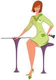 Cartoon  woman in green uniform with brush