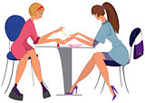 Cartoon  woman manicurist applying nail polish to the client