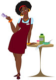 Cartoon black woman hairdresser standing in red apron