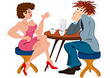 Cartoon couple sitting near the table and drinking coffee