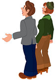 Cartoon couple standing and looking on something