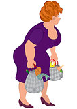 Cartoon fat woman in purple dress with groceries bags