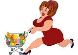 Cartoon fat woman in red dress running with grocery cart
