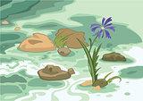 Cartoon flowers stones and brook