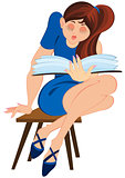 Cartoon girl in blue dress sitting on a chair and reading book