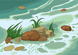 Cartoon grass stones and brook