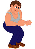 Cartoon man in blue pants and gray top