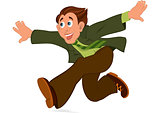 Cartoon man in green jacket running with hands wide open