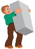Cartoon man in green shirt and brown shoes holding big box