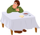 Cartoon man in green sweater sitting under the dinner table