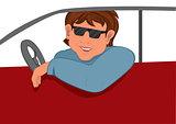 Cartoon man sunglasses in the car
