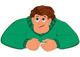 Cartoon man torso in green sweater