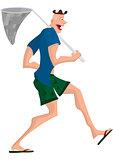Cartoon man walking with butterfly net