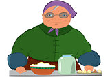 Cartoon old woman in purple hat