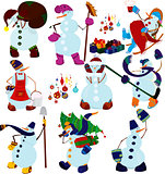 Cartoon snowman set and presents