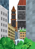 Cartoon tall buildings near green bushes