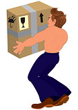 Cartoon topless man holding big box back view