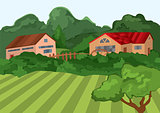 Cartoon village houses with green field and trees