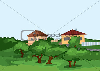 Cartoon village houses with green trees